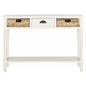 Woven Basket Console Table With Storage,  EUH5737