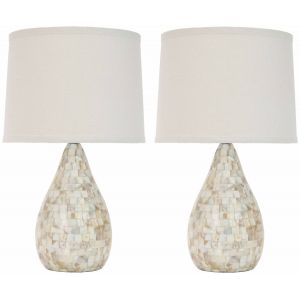 Elegant Shell Table Lamp ( Set of 2 ),  UKL4011 ( UK PLUG )
