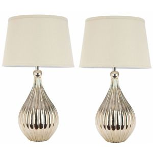 Elegant Gourd Table Lamp ( Set of 2 ),  UKL4012 ( UK PLUG )