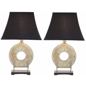 Transitional Ceramic Table Lamp ( Set of 2 ),  UKL4091 ( UK PLUG )