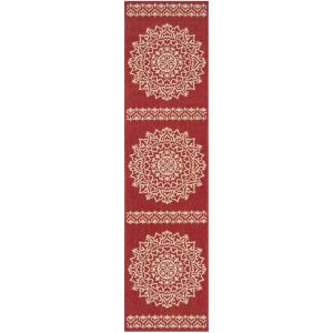 Contemporary Runner Rug, BHS183Q, 62 X 240 cm in Red / Creme